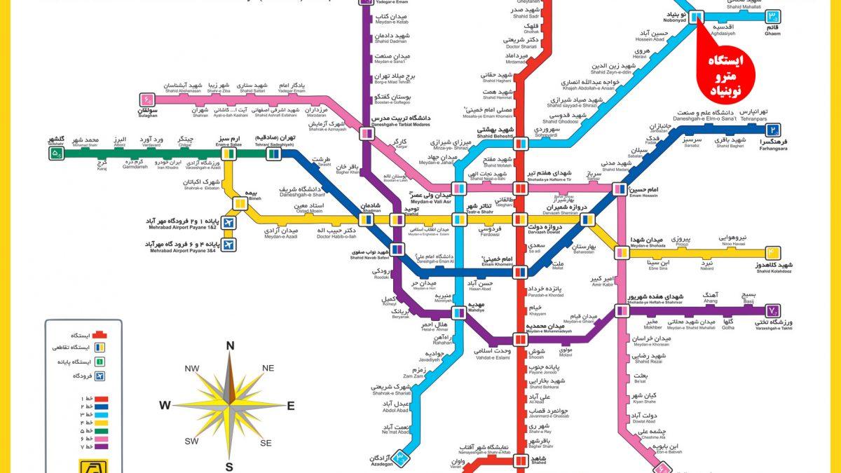 نقشه مسیر مترو باغ پرندگان تهران